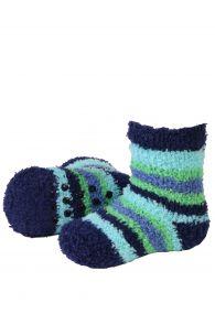MIKK cozy home socks for babies with green stripes | BestSockDrawer.com