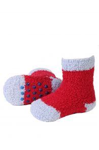 MIKK cozy dark red home socks for babies | BestSockDrawer.com