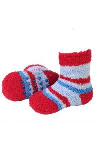 MIKK cozy home socks for babies with red stripes | BestSockDrawer.com