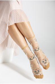 MOONA light brown sheer socks with cats | BestSockDrawer.com