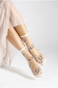 MOONA beige sheer socks with cats | BestSockDrawer.com