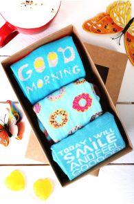 GOOD MORNING gift box for women containing 3 pairs of socks   BestSockDrawer.com