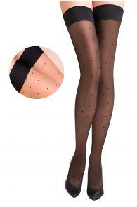 PUNTINA 20DEN beige hold ups with black dots | BestSockDrawer.com