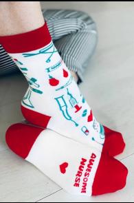 NURSE white cotton socks | BestSockDrawer.com