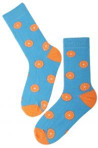 ORANGE cotton socks with oranges | BestSockDrawer.com