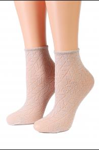 Oroblu METAL beige sparkling socks | BestSockDrawer.com