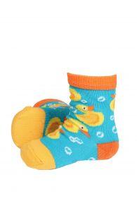 PARDIRALLI blue and orange baby socks with anti-slip soles | BestSockDrawer.com