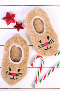 PUFFY beige home slippers for women | BestSockDrawer.com