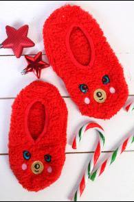 PUFFY red home slippers for kids   BestSockDrawer.com