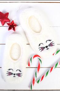 PUFFY white home slippers for women | BestSockDrawer.com