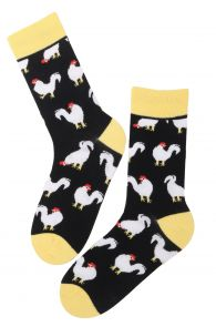 ROOSTER DAD cotton Easter socks with roosters | BestSockDrawer.com