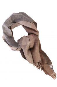 Beige-grey checked alpaca wool big scarf | BestSockDrawer.com