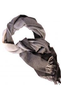 Black-gray checked alpaca wool big scarf | BestSockDrawer.com