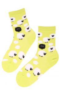 SHEEP green cotton socks with black sheep   BestSockDrawer.com