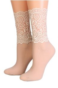 MADLE beige socks with a lace edge for women | BestSockDrawer.com