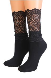MADLE black socks with a lace edge for women | BestSockDrawer.com