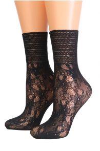 NETA black floral socks with lace | BestSockDrawer.com