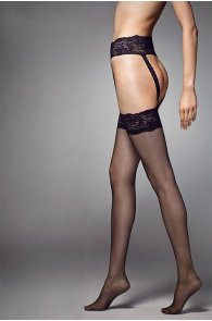 STRIPPANTE SENSUAL 15DEN tights with red lace | BestSockDrawer.com