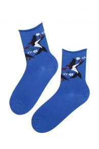 SWALLOW blue merino socks for women | BestSockDrawer.com