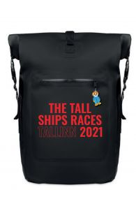 THE TALL SHIPS RACES 2021 backpack with red text | BestSockDrawer.com