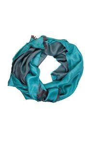 Turquoise double face alpaca wool and silk shawl | BestSockDrawer.com