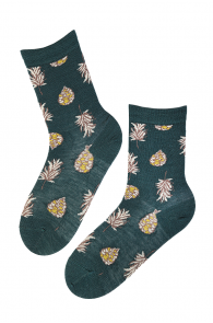 WOOD angora wool socks with cones and leaves | BestSockDrawer.com