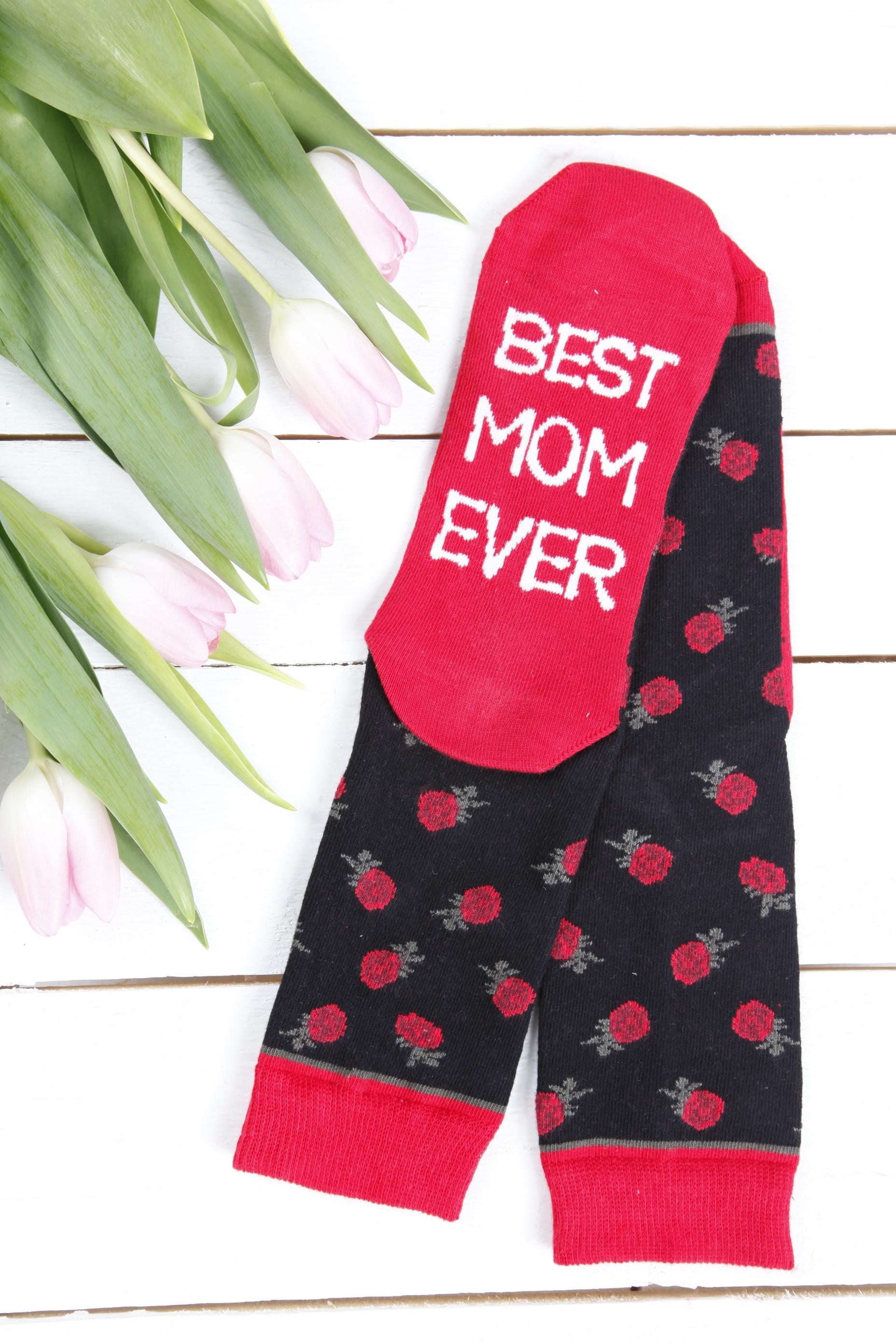 FRANKA socks for beloved mom, red roses pattern