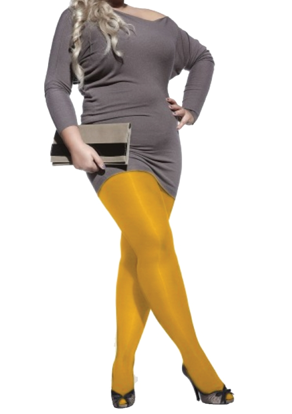Yellow microfibere tights for plus-size
