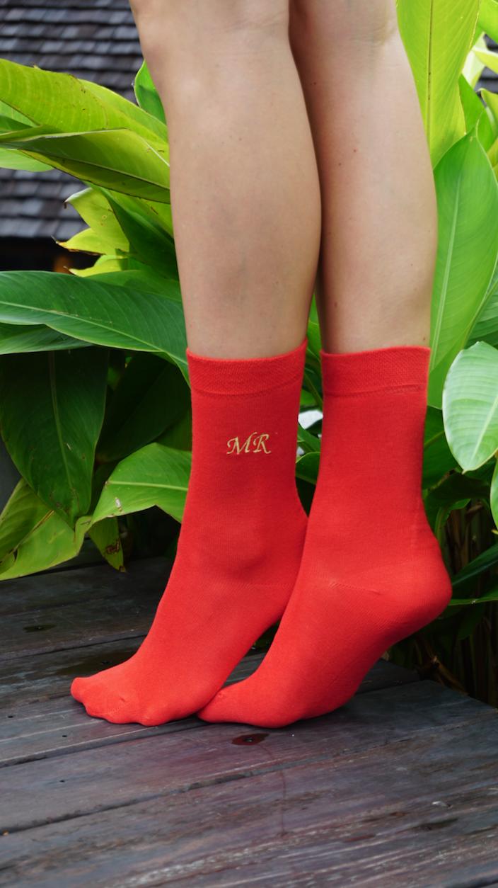 Women's socks with personal name, ROMANTIK font style